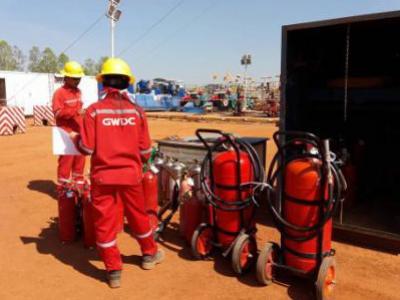 งานตรวจเช็คระบบดับเพลิง และเครื่องดับเพลิง บ่อน้ำมันลานกระบือ จ.กำแพงเพชร